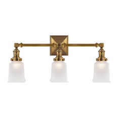 Boston Square Triple Light Sconce, Hand-Rubbed Antique Brass