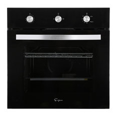 """Empava 24"""" Tempered Glass Built-in Single Gas Wall Oven, Black"""