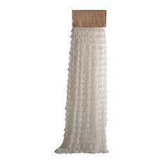 "Chici Ivory Petal With Natural Jute Header Window Curtain, 18""x96"""