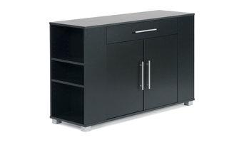 Sorento 2 Door Sideboard With Drawer and End Shelf, Black