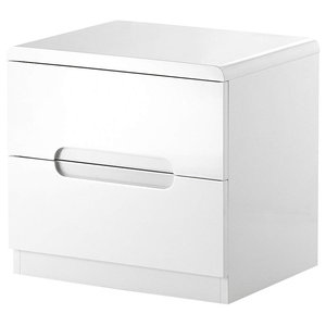 Modern Chest of Drawers, White High Gloss Finished MDF