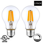 LightAccents - LED Light Bulb A19, 8W (Warm White),(E26) UL-Listed -(Pack of 2), 2-Pack - NEWEST LED LIGHT BULB FILAMENT TECHNOLOGY: These light bulbs are the true replacement for the standard incandescent light bulb.