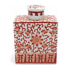 Rectangular Orange Coral and White Porcelain Tea Caddy Jar Box Twisted Lotus, 6""