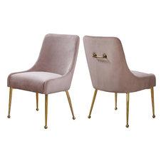 Owen Velvet Dining Chair, Set of 2, Pink