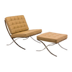 Melba Lounge Tufted Modern Chair and Ottoman, 2-Piece Set, Light Brown, Leather