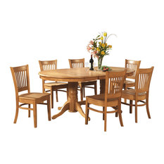 East West Furniture   9 Piece Dining Table Set Double Pedestal Oval, A