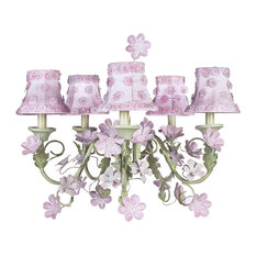 5-Arm Leaf and Flower Chandelier With Petal Flower Shades