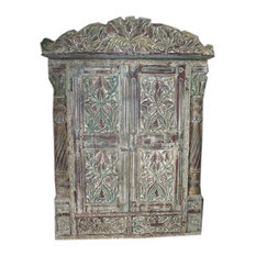 Mogul Interior - Jharokha Door Antique Style Frame Rustic Terrace Window Hand Carved Distressed - Interior Doors