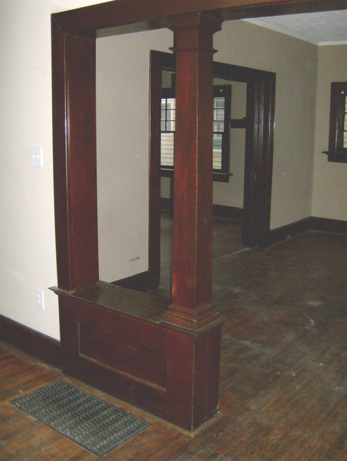 Foyer idea built in bench as a room divider - Built in room dividers ...