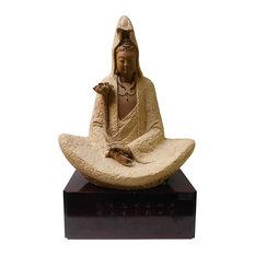 Handmade Clay Meditate Kwan Yin , Bodhisattva , Guanyin Statue With Lotus hn169