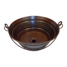 "15"" Round Bucket Copper Vessel Vanity Sink With Handle"