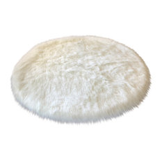Super Soft Faux Sheepskin Silky Shag Rug, White, 6' Round