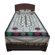 Mogul Interior - Indian Bedding Bedspread Indi Hippie Floral Printed Cotton - Quilts And Quilt Sets