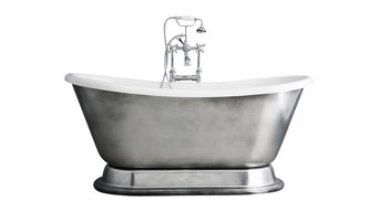 """'Christoforo'  Acrylic French Bateau Tub Package With Aged Chrome Exterior, 59"""""""