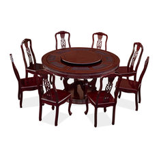 60in Rosewood Round Dining Table With 8 Chairs Chinese Coin And Clouds Motif