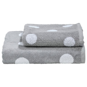 Dots Towel Collection, Silver and White, Set of 2