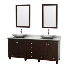 "80"" Acclaim Double Vanity, White Carrera Marble Top, White Carrera Marble Sink"