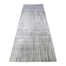 "2'6""x7'10"" Ombre Design Pure Silk Handmade Runner Oriental Rug"