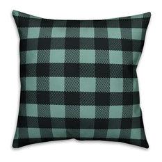 """Teal Buffalo Check Plaid Outdoor Throw Pillow, 20""""x20"""""""