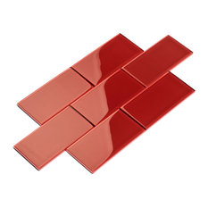 """3""""x6"""" Subway Collection, Set of 44, Ruby Red"""