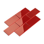 "3""x6"" Subway Collection, Set of 44, Ruby Red"