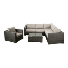 GDFStudio - 7-Piece Francisco Outdoor Gray Wicker Seating Sectional With Sunbrella Cushi Set - Outdoor Lounge Sets