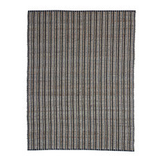 Chess Striped Jute Rug, Black, 80x150 cm