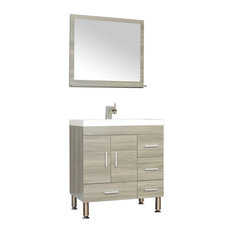 The Modern 30 inch Single Modern Bathroom Vanity Gray without Mirror