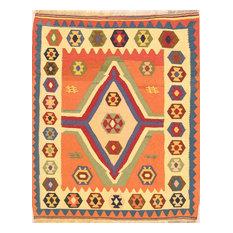 "Kilim Oriental Flat-Woven 5' Square Persian Design Area Rug, Orange, 5'4""x4'4"""