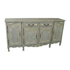 Consigned Sideboard French Country Farmhouse Oak Distressed Gray Painted
