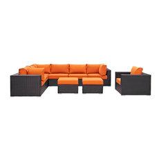 Modern Contemporary Outdoor Patio 9-Piece Sectional Sofa Set, Orange, Rattan