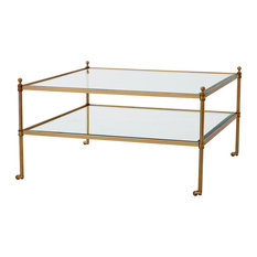 Brass Coffee Table Eichholtz Aubrey Gold 31-inchx31-inchx17-inch