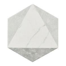 "7""x8"" Carra Carrara Hexagon Porcelain Floor and Wall Tiles, Set of 25, Peak"
