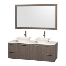 "Amare 60"" Gray Oak Double Sink Vanity With White Man-Made Stone Top, 58"" Mirror"
