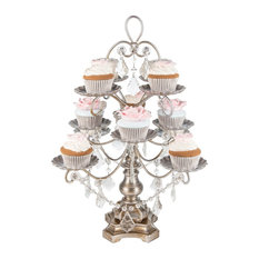 Amalfi Decor - Madeleine Silver Crystal-Draped Cupcake Stand - Dessert and Cake Stands