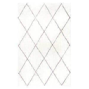 Hand-Tufted Geometric Moroccan Shag Rug, Natural, 8'x10'