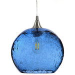 Bicycle Glass - Lunar Pendant No. 768, Blue Glass Shade, Brushed Nickel Hardware, 8 Watt - The Lunar Pendant Form No. 768 features a hand-blown recycled glass globe with an eight-watt LED filament bulb. The bubbles are added by hand and add to the fixture's individual nature. It is reminiscent of the moon's surface and has an effervescent quality to it. This design works well in many different styles of decor including traditional, transitional, beach style or contemporary, and is perfect as a single pendant or displayed in groups.