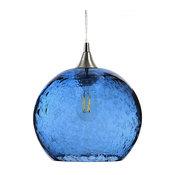 Lunar Pendant No. 768, Blue Glass Shade, Brushed Nickel Hardware, 8 Watt