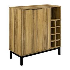 Walker Edison Furniture Company   Bar Cabinet With Wine Storage, Teak    Wine And Bar