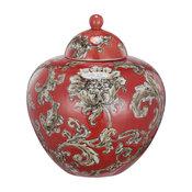 David Tutera Lidded Etched Ceramic Jar, Red