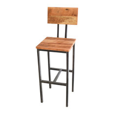 Industrial Reclaimed Pine Bar Stool Steel Base Seat Hieght 30-inch