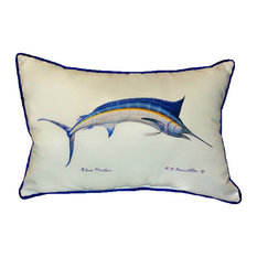 Pair of Betsy Drake Blue Marlin Large Pillows 15 Inch x 22 Inch