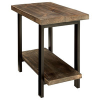 Rustic End Table, Wooden Table Top, Metal Legs, 1-Open Bottom Shelf