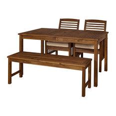 Acacia Wood Simple Patio 4-Piece Dining Set, Dark Brown