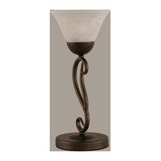Bronze Finish 2 Bulb Mini Table Lamp w White Marble Glass