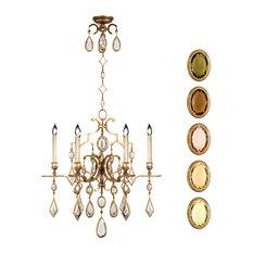 Fine Art Lamps 729640-1ST Encased Gems Gold Multi Color Crystal 6 Light Chandeli