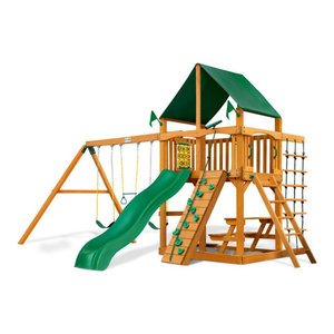 Chateau Swing Set With Amber Posts and And Sunbrella Canvas Forest Green Canopy