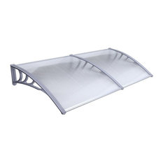 """Aleko Polycarbonate Outdoor Awning Cover, 40""""x80"""", Gray"""