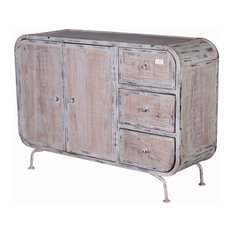 Guilford Distressed Reclaimed Wood 3 Drawer Industrial Sideboard