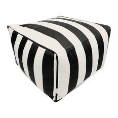 "Outdoor Vertical Stripe Large Ottoman, Black, 27""x27""x17"""